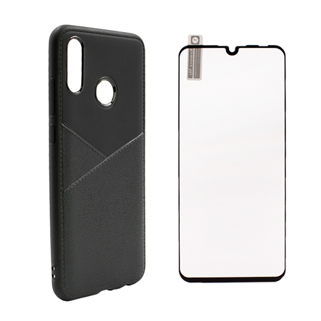 Silikonov grab Tie za Huawei P Smart 2019 Cheren 5D protektor za tsyal ekran-topcase-bg